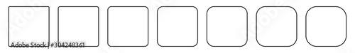 Photo Square Icon Thin Line Black | Round Squares | Foursquare Symbol | Frame Logo | B