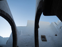 Two Archways And Stucco Walls At The Monastery Of St. John On Patmos Greece