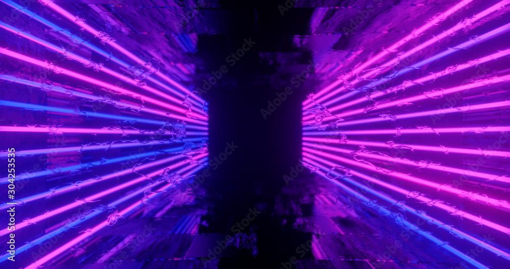Fototapety, obrazy: 3d render. Geometric figure in neon light against a dark tunnel. Laser line glow. Neon backgrounds