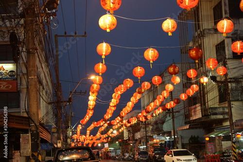 Fototapeta  Lanterns in the Chinese New Year event in Sakon Nakhon Province obraz