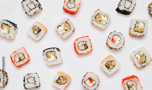 Fototapeta  Japanese set rolls on white background. obraz