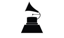 Icon Of An Old Gramophone. Vector Best Music Awards Winner Concept, Isolated On White Background. Grammy.