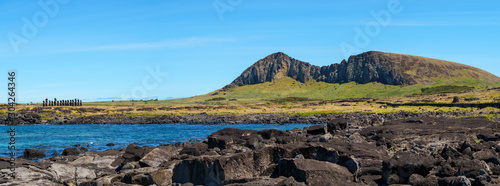 Moais on Ahu Tongariki beach.Ester Island.Chile Canvas Print