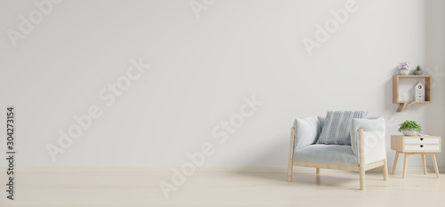 The interior has a armchair on empty white wall background. Fototapeta
