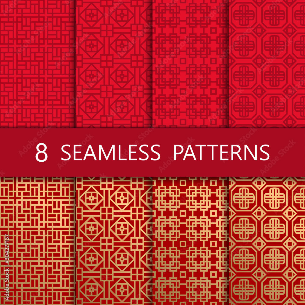 Fototapeta Set of golden chinese seamless pattern, vector illustration