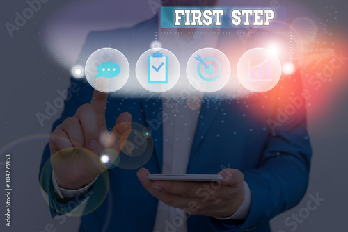 Obraz na plátně Text sign showing First Step