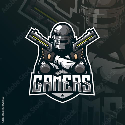 Fotomural gamer mascot logo design vector with modern illustration concept style for badge, emblem and tshirt printing