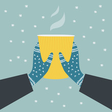 Winter Banner With Hot Drink