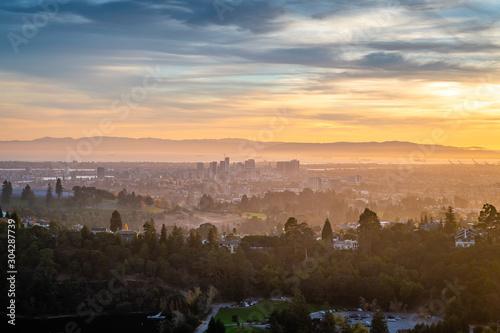 Leinwand Poster Autumn Sunset over the San Francisco Bay Area