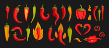 Colorful Vector Illustration With Red Chili Peppers On A Black Background. For Printing On Eco-friendly Products For Vegetarians, Gardeners, Cooks, Healthy Lifestyle.
