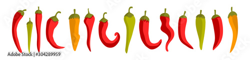 Cuadros en Lienzo  Colorful vector illustration with red chili peppers on a white background