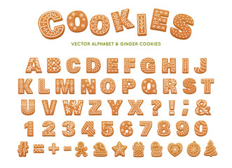 Gingerbread alphabet for decoration design. Christmas vector illustration. Sweet dessert. Winter holiday elements.