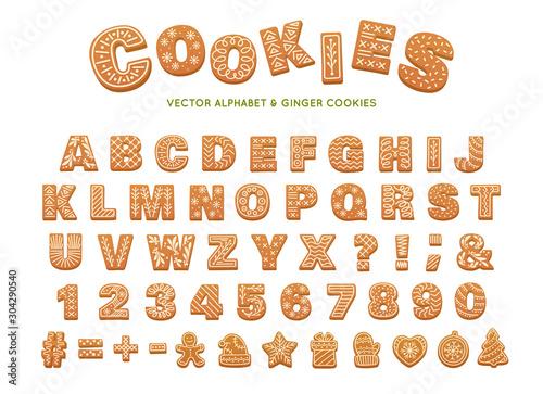 Obraz Gingerbread alphabet for decoration design. Christmas vector illustration. Sweet dessert. Winter holiday elements. - fototapety do salonu