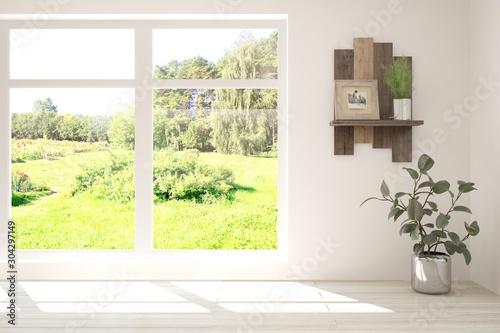 Foto auf Leinwand Gelb Schwefelsäure Stylish empty room in white color with summer landscape in window. Scandinavian interior design. 3D illustration