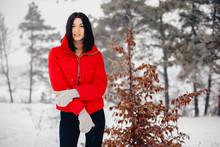 Cute Girl Walking In A Winter ...