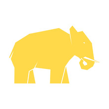 Yellow Elephant Isolated On White Background, Vector Illustration