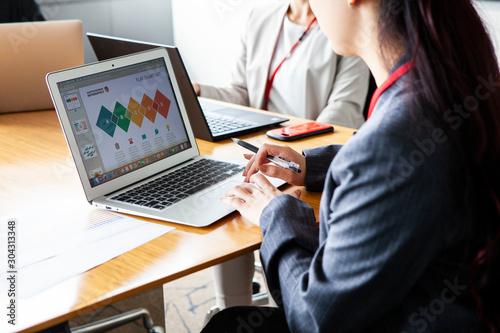 ノートパソコンで資料をみる女性 Wallpaper Mural
