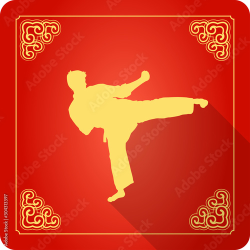 Stampa su Tela Traditional Chinese Kung Fu Master Icon, Flat Design