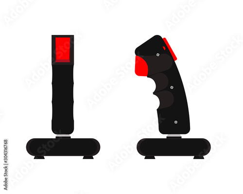 Computer joystick 90s. Rear and side view. Flat style. Vector illustration.