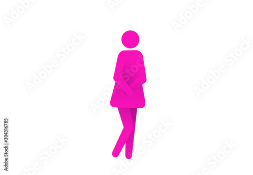 Fotomural Urinary incontinence, cystitis, involuntary urination woman icon vector illustration