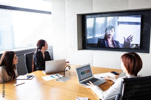 Fotografía テレビ会議の風景