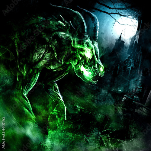 A creepy undead with a skull of an animal, horned and muscular, rises from the grave at the full moon, shrouded in a poisonous green fog, against the background of a Gothic castle. 2D illustration