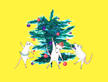 Funny Mice Dancing At A Party Around A Christmas Tree. Isolated On A Yellow Background. White Rat Symbol Of 2020. Hand-drawn Cute Animals