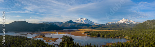 Aerial panorama view of picturesque northwest natural landscape with beautiful s Canvas Print