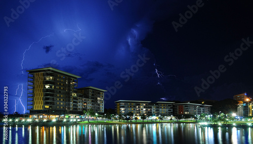 Storms and lightning in Darwin, Northern Territory Australia. Fotobehang