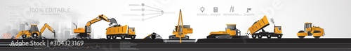 Fototapeta Heavy construction equipment on site. obraz