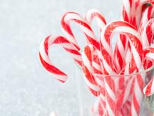 Christmas Candy Sticks On Glas...