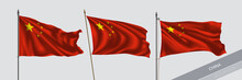 Set Of China Waving Flag On Is...