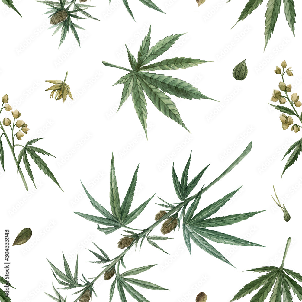 Fototapety, obrazy: Beautiful watercolor medical marijuana seamless pattern. Natural therapeutic drug.