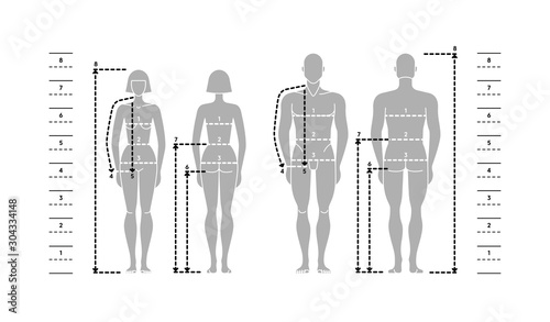 Fototapeta Silhuettes of man and women in full length with measurement lines of body parameters