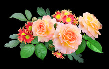 A Bouquet Of Peach Terry Roses And Burgundy Yellow Chrysanthemums On A Black Background. Flower Vignette, Photo Collage.