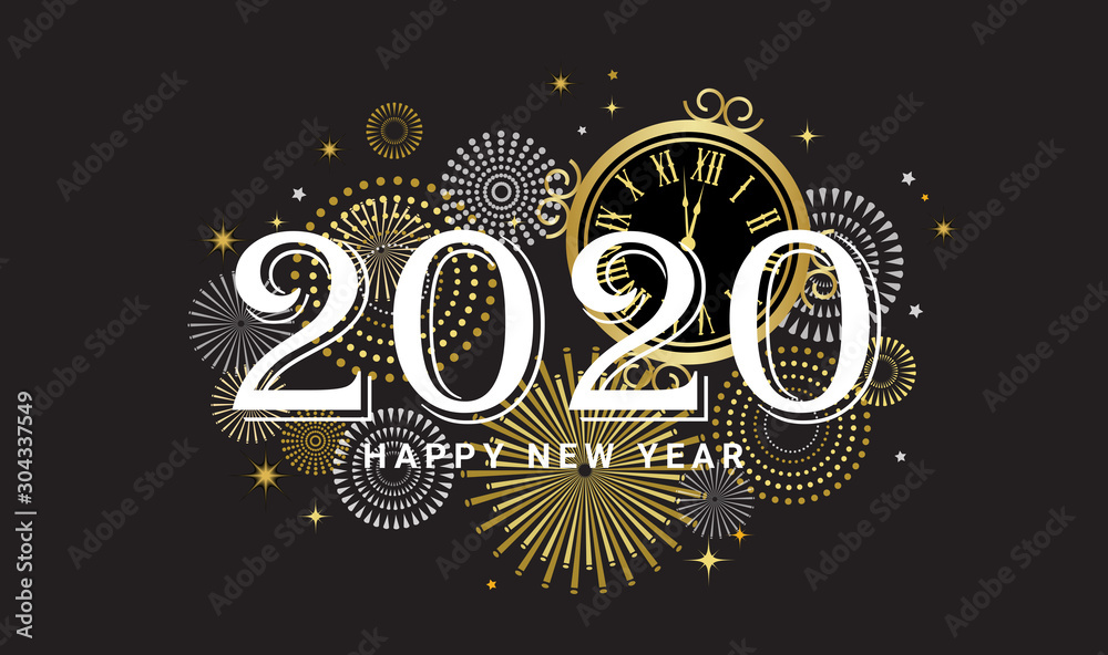 Fototapety, obrazy: Happy New Year 2020 - New Year Shining background with gold clock and glitter