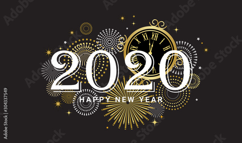 Fotografie, Tablou Happy New Year 2020 - New Year Shining background with gold clock and glitter