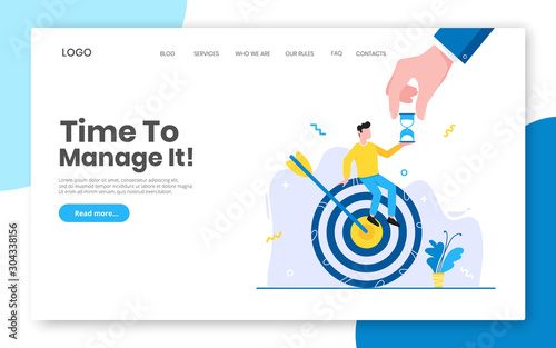 Business time management internet landing page concept template with man sitting on target icon and big hand Wallpaper Mural