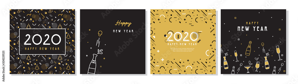 Fototapety, obrazy: Happy New Year- 2020 . Collection of greeting background designs, New Year, social media promotional content. Vector illustration