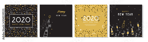 Happy New Year- 2020 . Collection of greeting background designs, New Year, social media promotional content. Vector illustration - 304339531