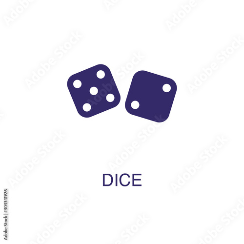 Dice element in flat simple style on white background Wallpaper Mural