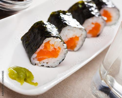 Fototapeta Sushi maki set with salmon obraz