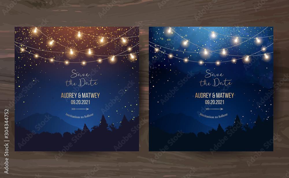 Fototapeta Magic night wedding lights vector design invitations