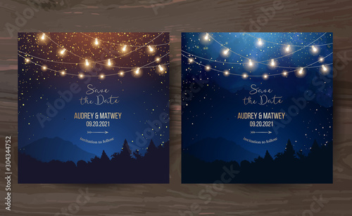 Obraz Magic night wedding lights vector design invitations - fototapety do salonu