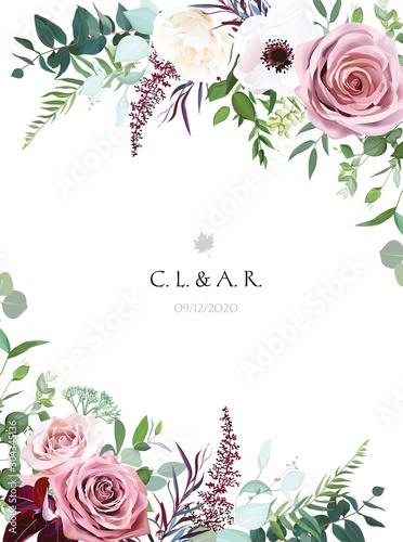 Dusty pink, cream rose, pale flowers, white anemone vertical botanical vector de Wallpaper Mural