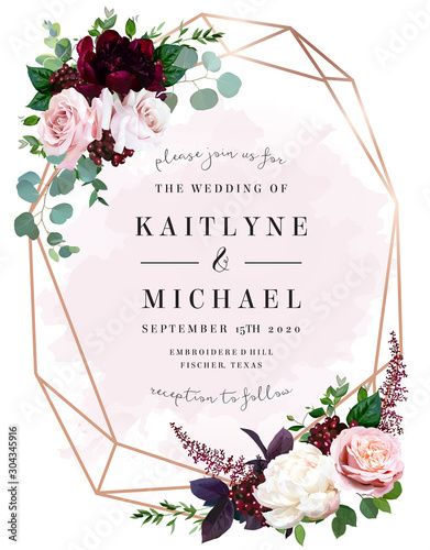 Luxury fall flowers wedding vector bouquet card. #304345916