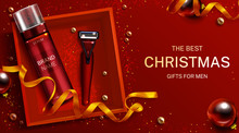 Men Cosmetics Christmas Gift Mockup Banner, Shaving Foam Bottle And Safety Razor Blade In Red Box Top View. Shaver And Body Care Cosmetic Product On Festive Background 3d Realistic Vector Illustration