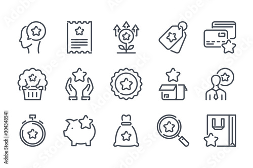 Fototapeta  Customer reward service related line icon set