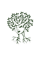 Vector Illustration, Abstract Portrait Of A Woman Stylized Under A Tree