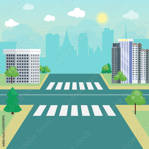 Street road, city without traffic landscape vector illustration Fototapete